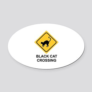 HALLOWEEN BLACK CAT CROSSING Oval Car Magnet